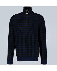 JW Anderson Neckband Striped Cashmere Sweater - Blue