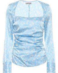 Ganni Floral Stretch-silk Satin Top - Blue