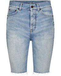 Saint Laurent Shorts de jeans - Azul