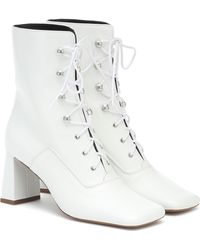 BY FAR Claude Lace-up Leather Ankle Boots - White
