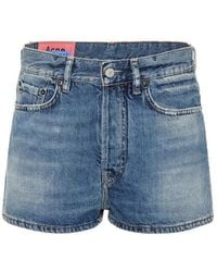 Acne Studios Blå Konst Denim Shorts - Blue