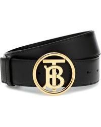 Burberry Cinturón TB de piel - Negro