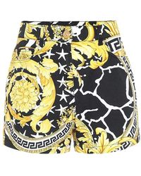 Versace Shorts Vita Alta In Denim Di Cotone - Multicolore