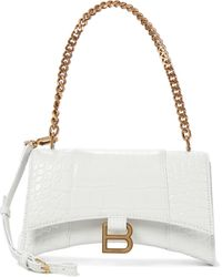 Balenciaga Hourglass Leather Wallet With Chain - White