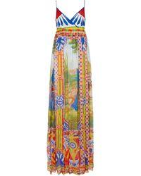 Dolce & Gabbana Robe longue imprimée en soie - Multicolore