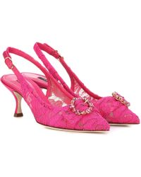 b14ebd1cc9 Dolce & Gabbana Lori Crystal-embellished Lace Kitten-heel Pumps in ...