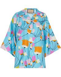Gucci Bedrucktes Hemd aus Seide - Blau
