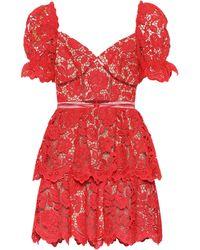 Self-Portrait Floral Lace Minidress - Red