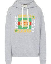 Gucci Logo-print Cotton-jersey Hoody - Gray