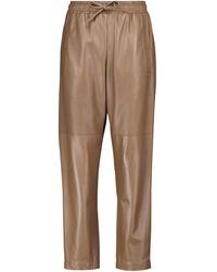 Brunello Cucinelli Pantalon droit en cuir - Multicolore