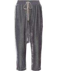 Rick Owens Cropped Velvet Trackpants - Grey