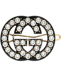 Gucci Haarspange GG mit Kristallen - Schwarz