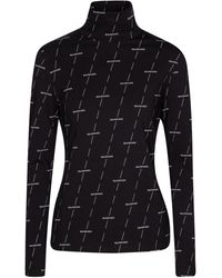 Balenciaga Logo Stretch-cotton Turtleneck Top - Black