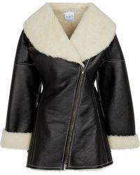 Alaïa Manteau Edition 1987 en shearling et cuir - Noir