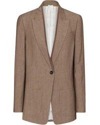 Brunello Cucinelli Embellished Wool And Linen Blazer - Brown