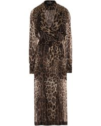 Dolce & Gabbana Trench-coat en soie à motif léopard - Multicolore