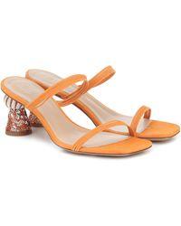 Jacquemus Les Mules Vallena Suede Sandals - Orange