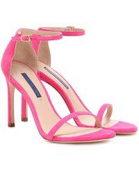Stuart Weitzman Nudistsong Suede Sandals - Pink
