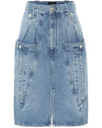 Isabel Marant Kalosia Panelled Denim Midi Skirt - Blue
