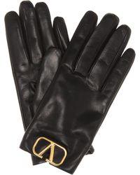 Valentino Vlogo Leather Gloves - Black