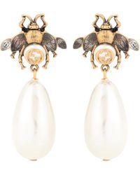 Gucci Orecchini ape con perle a goccia - Metallizzato