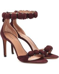 Alaïa Embellished Suede Sandals - Red