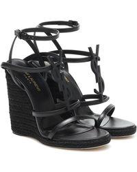 Saint Laurent - Cassandra 115 Wedge Espadrille Sandals - Lyst