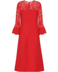Valentino Lace-trimmed Wool And Silk Dress - Red