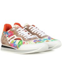 Etro - Sneakers a stampa in tessuto e pelle - Lyst