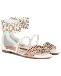 Alaïa Verzierte Sandalen aus Leder - Mehrfarbig