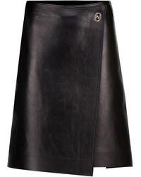 Bottega Veneta Leather Wrap Miniskirt - Black