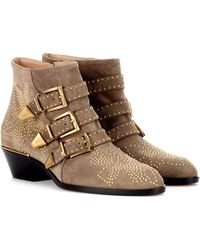 Chloé Susanna Studded Suede Ankle Boots - Brown