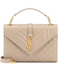 Saint Laurent Envelope Medium Shoulder Bag - Natural