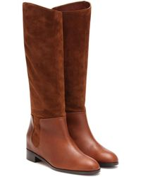 Aquazzura Duke Riding Suede And Leather Boots - Brown