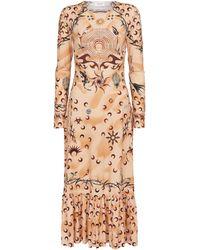 Marine Serre Printed Jersey Midi Dress - Brown