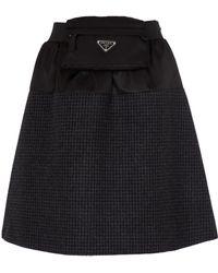 Prada Mini-jupe en Re-Nylon et laine vierge - Noir