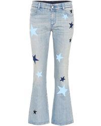 Stella McCartney Jeans flared a stampa - Blu