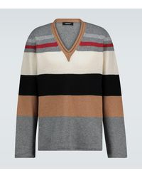 Undercover Colorblocked V-neck Sweater - Grey