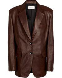 Magda Butrym Single-breasted Leather Blazer - Brown