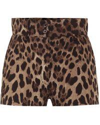 Dolce & Gabbana Short en coton mélangé à taille haute et motif léopard - Multicolore
