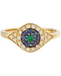 Ileana Makri Anillo Cats Eye de oro de 18 ct con diamantes, zafiros y tsavorita - Metálico
