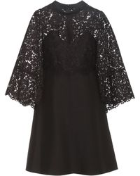 Valentino - Virgin Wool And Silk Cape Dress With Lace - Lyst