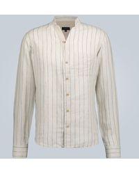 Sease Mandarin-collar Linen Shirt - Multicolor
