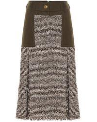 Sacai Jupe à taille haute en tweed de laine mélangée - Marron