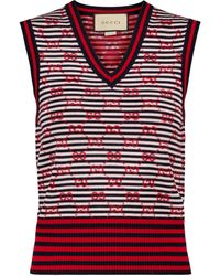 Gucci GG Jacquard Wool Sweater Vest - Red