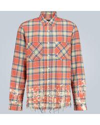 Amiri Camisa a cuadros con manchas de pintura - Rojo
