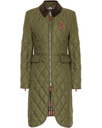 Burberry Midi-length Equestrian Quilted Coat - Green