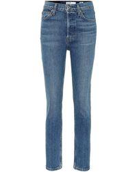RE/DONE Jeans skinny de tiro alto cropped - Azul
