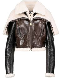 Givenchy Layered Leather And Shearling Jacket - Black