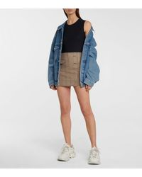 Vetements Minifalda de lana de cuadros - Marrón